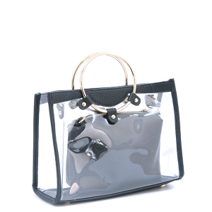 HBG102411B Transparent Hoop Handle Bag Black