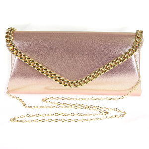 Metallic Chain Envelope Clutch - Rose Gold