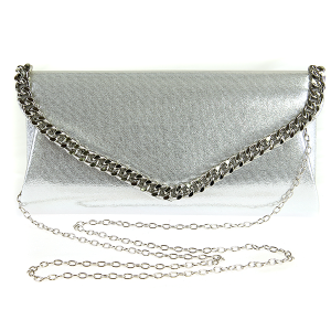 Metallic Chain Envelope Clutch - Silver