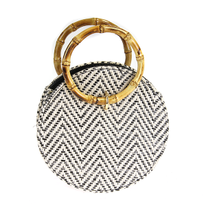 Circular Straw Weave Tote  Bamboo Handle black chevron