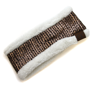 Winter CC Headband 322 metallic knit headband sherpa lining brown gold