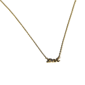 Necklace 2271 Avec LOVE necklace cubic zirconia brass gold script