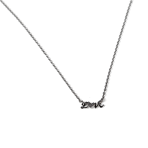Necklace 2272 Avec LOVE necklace cubic zirconia brass silver script