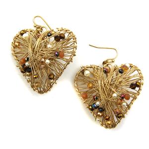 Earring 3694c 24 Wildflower wire bead heart earrings dark multicolor
