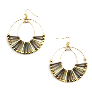 Earring 3767c 24 Wildflower hoop bead color accents brown