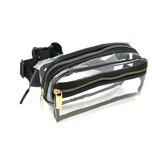 Handbag Republic JY 0331 zipper fanny pack clear black