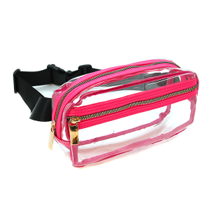 Handbag Republic JY 0331 zipper fanny pack clear neon fuchsia