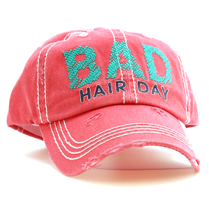 Cap 085b 30 KBEthos bad hair day distressed hat pink coral