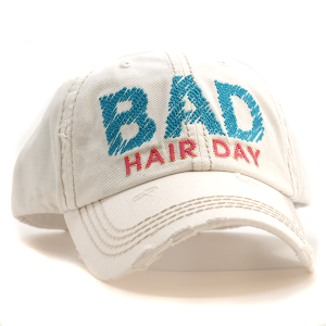 Cap 078k 30 KBEthos bad hair day distressed hat white