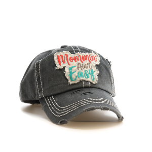 Cap 124c 30 KBEthos Mommin aint easy distressed hat dark gray
