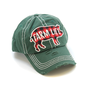 Cap 368 30 KBEthos plaid farm life hat green