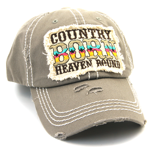 Cap 162a 30 KBEthos Country Born Heaven Bound hat gray