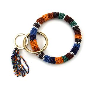 Keychain 040f Bijorca seed bead wrist keychain multicolor