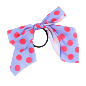 Hair Accessory 097 Ribbon Pony Tail Bow polka dots purple fuchsia