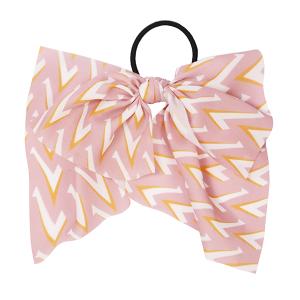 Hair Accessory 096 Ribbon Pony Tail Bow chevron pink