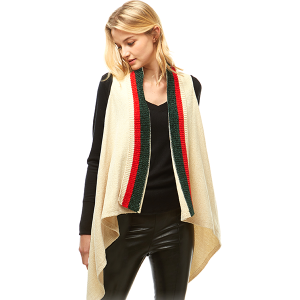 Shawl 703 04 lof chenille vest ivory green red