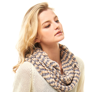 Scarf 701 04 LOF chenille infinity scarf striped beige gray