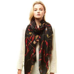 Scarf 002b 04 LOF ligh belt pattern scarf black
