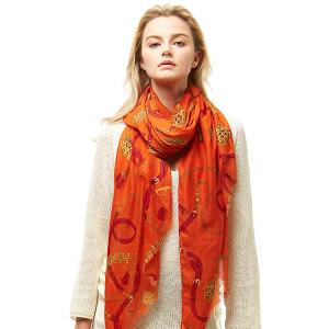 Scarf 027a 04 LOF ligh belt pattern scarf orange