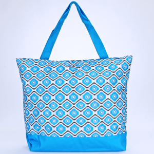 luggage 18 18 tote bag geometric aztec light blue gray white