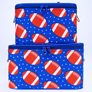 luggage 2pc makeup football royal blue