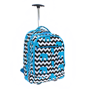 luggage 6018 ROLLING computer wheel backpack elephant chevron turquoise