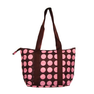 luggage AK lunch bag C15 polka dots brown pink 808