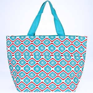 luggage ak C15 18 lunch tote geometric aztec turquoise red white