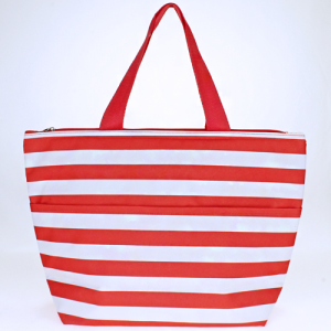 luggage ak C15 23 lunch tote nautical stripe coral white