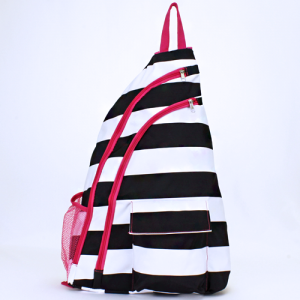 luggage ak NBB 23 shoulder bag nautical stripe black white fuchsia