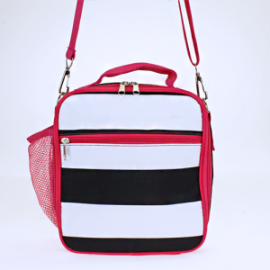 luggage ak NCC17 23 long lunch box with strap nautical stripe black white fuchsia