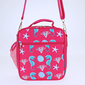 luggage ak NCC17 32 long lunch box sea horse fuchsia turquoise
