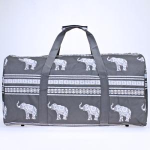 luggage ak NDN ELE GW round duffle bag boho elephant gray white