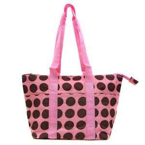 luggage ak lunch bag C15 807A pink brown polka dot CANVAS