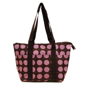 luggage ak lunch bag C15 808A brown pink polka dot CANVAS