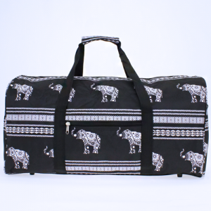 luggage ak NDN ELE BW round duffle bag boho elephant black white