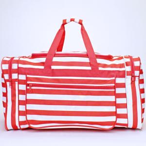 luggage D22 23 duffle bag nautical stripe coral