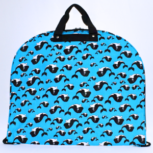luggage garment bag whale turquoise black