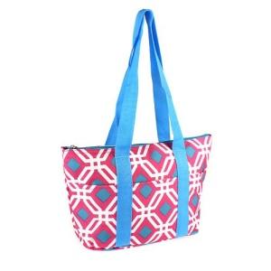 luggage lt15 709 geometric lunch box fuchsia turquoise trim