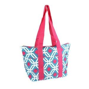 luggage lt15 709 geometric lunch box turquoise fuchsia trim