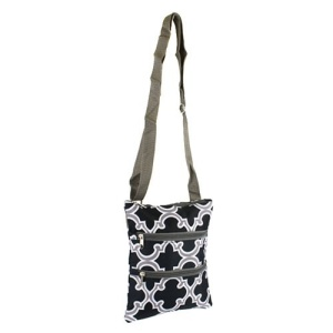 luggage mb1 708 quatrefoil messenger bag gray black
