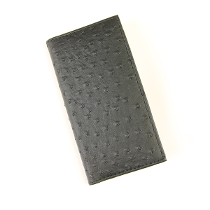 Simple Large Leather Wallet Ostrich Black