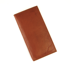 Simple Large Leather Wallet Dark Brown