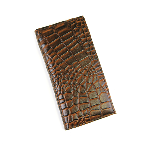 Simple Large Leather Wallet Croc Dark Brown