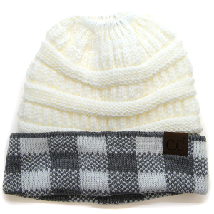 Winter CC Beanie 007b Messy Bun Beanie Pony Tail white gray plaid