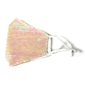 Face Mask 157a Sequin Face Mask white  pink multicolor