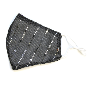 Face Mask 082d sequin glitter stripe gray