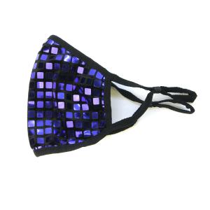 Face mask 072c grid cube shiny mask blue violet