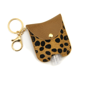Hand Sanitizer Keychain 051 cow brown leather