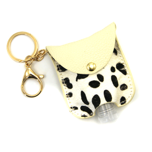 Hand Sanitizer keychain 054 cow ivory leather